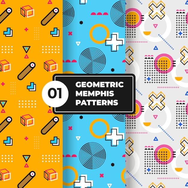 Coleção de padrão geométrico de memphis Vetor grátis