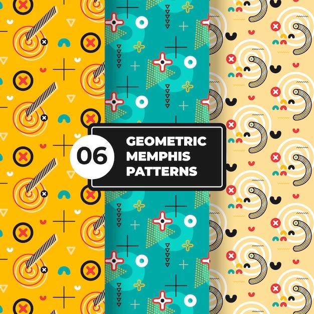 Coleção de padrão geométrico de memphis Vetor Premium