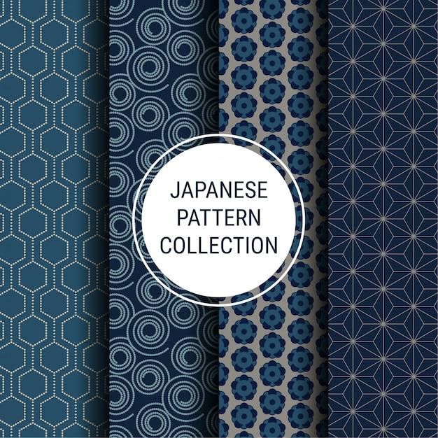 Coleção de padrão indigo japonês Vetor Premium