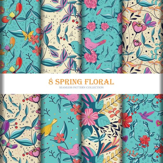 Coleção de padrão sem emenda de flores 8floral Vetor Premium