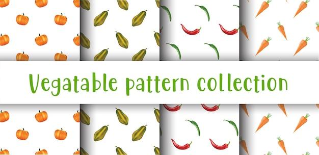 Coleção de padrão sem emenda de legumes. Vetor Premium