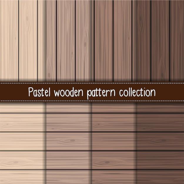 Coleção de padrão sem emenda de madeira gradiente marrom Vetor Premium