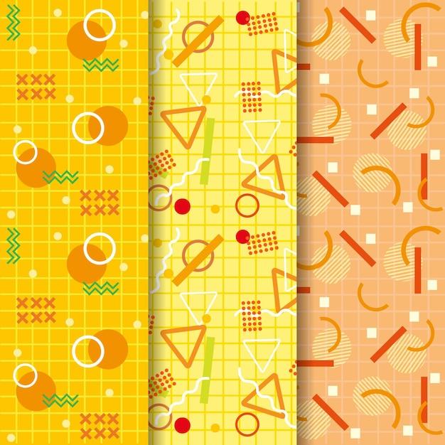 Coleção de padrão sem emenda de memphis amarelo gradiente Vetor grátis