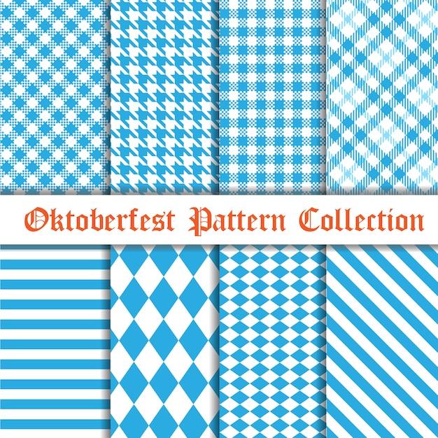 Coleção de padrão sem emenda de oktoberfest Vetor Premium