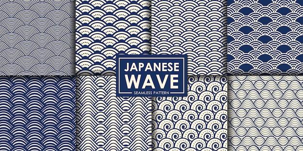 Coleção de padrão sem emenda de onda japonesa. Vetor Premium