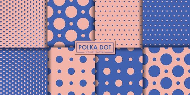 Coleção de padrão sem emenda de polkadot pastel. Vetor Premium