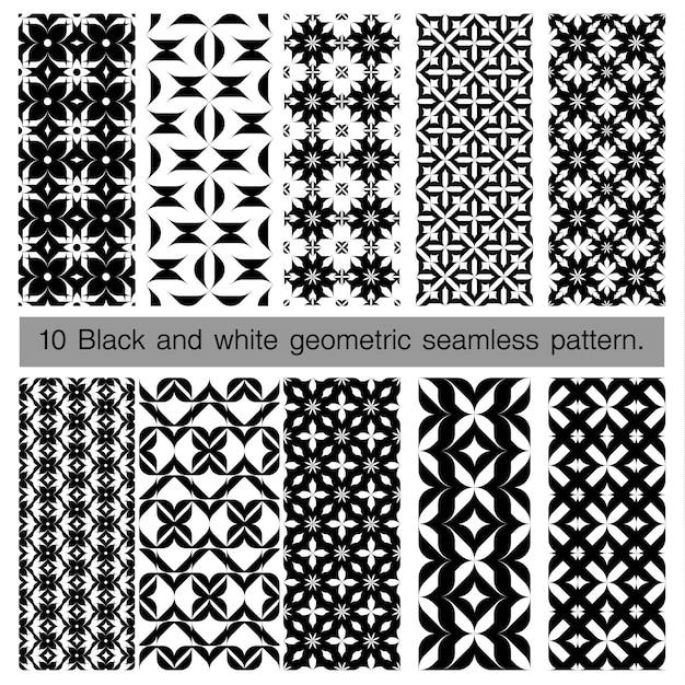 Coleção de padrão sem emenda geométrico preto e branco Vetor Premium