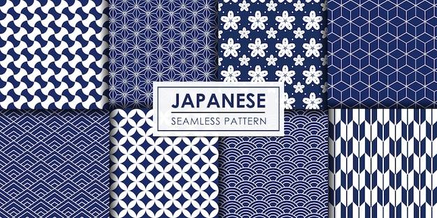 Coleção de padrão sem emenda japonesa, papel de parede decorativo. Vetor Premium