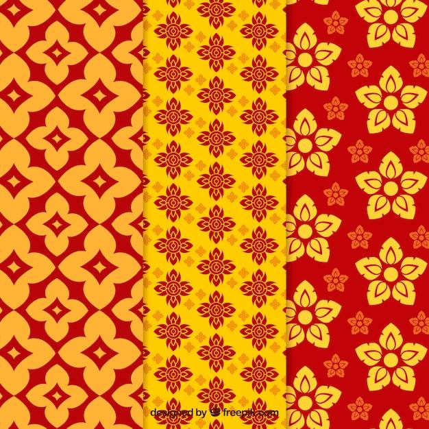Coleção de padrão tailandês colorido com design plano Vetor grátis