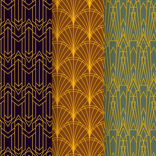 Coleção de padrões art déco Vetor grátis