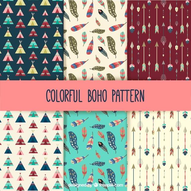 Coleção de padrões boho colorido Vetor grátis