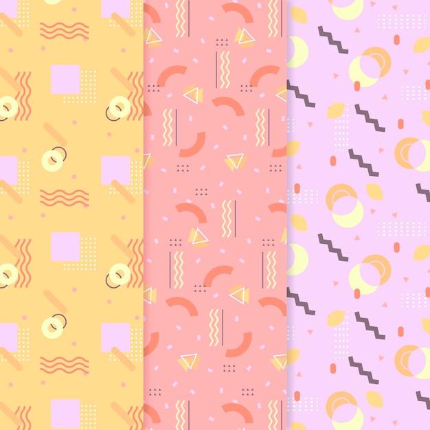 Coleção de padrões coloridos de memphis Vetor grátis
