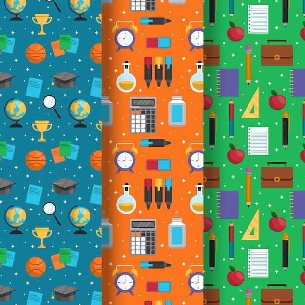 Coleção de padrões com volta às aulas Vetor grátis