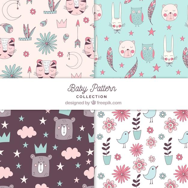 Coleção de padrões de bebê com elementos fofos Vetor grátis