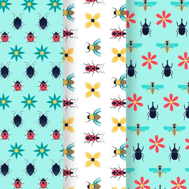 Coleção de padrões de bug Vetor grátis