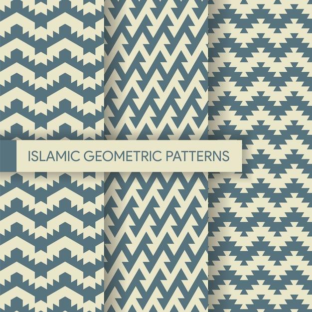 Coleção de padrões de fundo geométrico sem costura têxtil Vetor Premium
