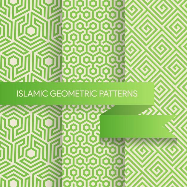Coleção de padrões de fundos geométricos sem emenda Vetor Premium