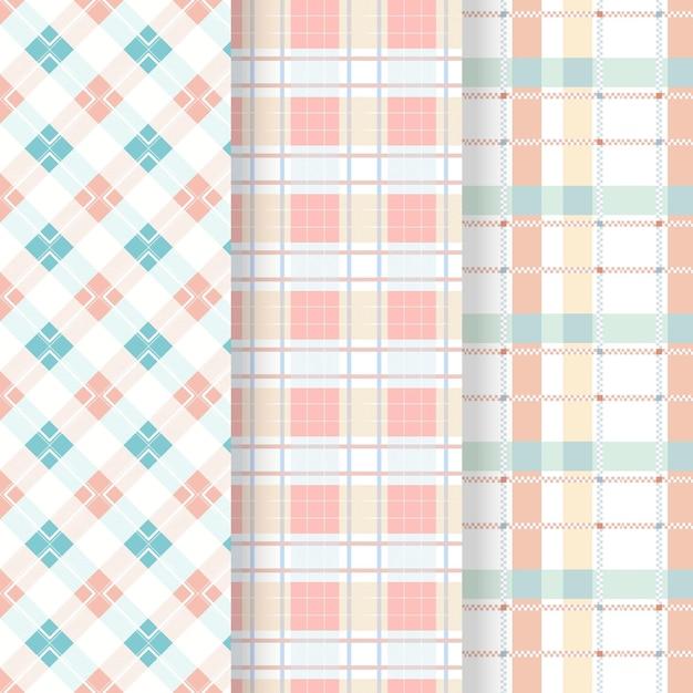 Coleção de padrões de guingão em tons pastéis Vetor Premium