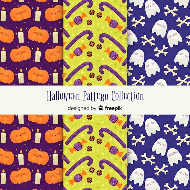 Coleção de padrões de halloween Vetor grátis