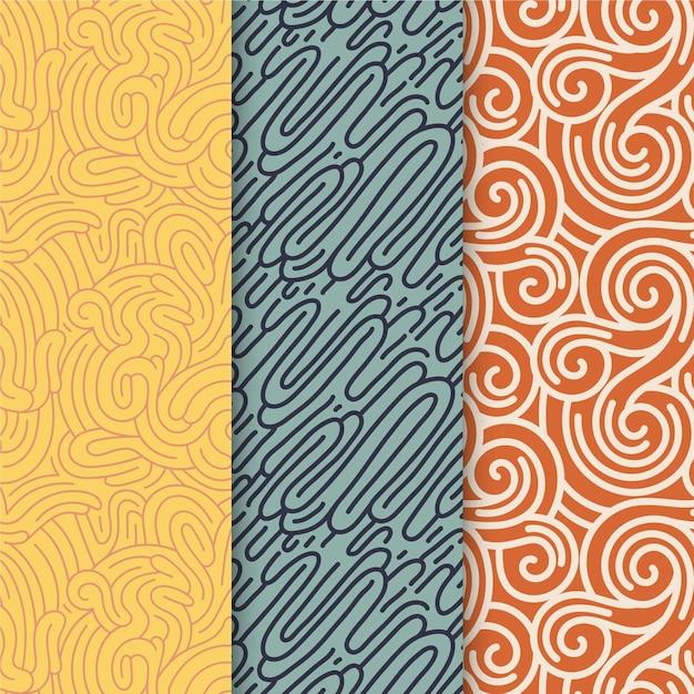 Coleção de padrões de linhas arredondadas de diferentes cores Vetor grátis