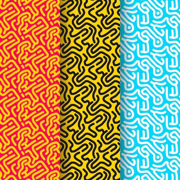 Coleção de padrões de linhas arredondadas Vetor grátis