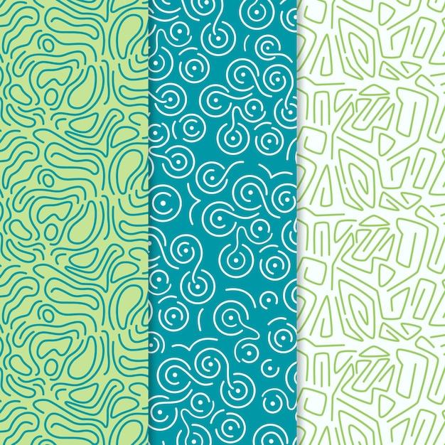 Coleção de padrões de linhas arredondadas Vetor Premium