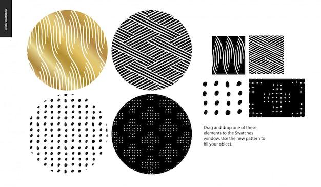 Coleção de padrões de mão desenhada Vetor Premium