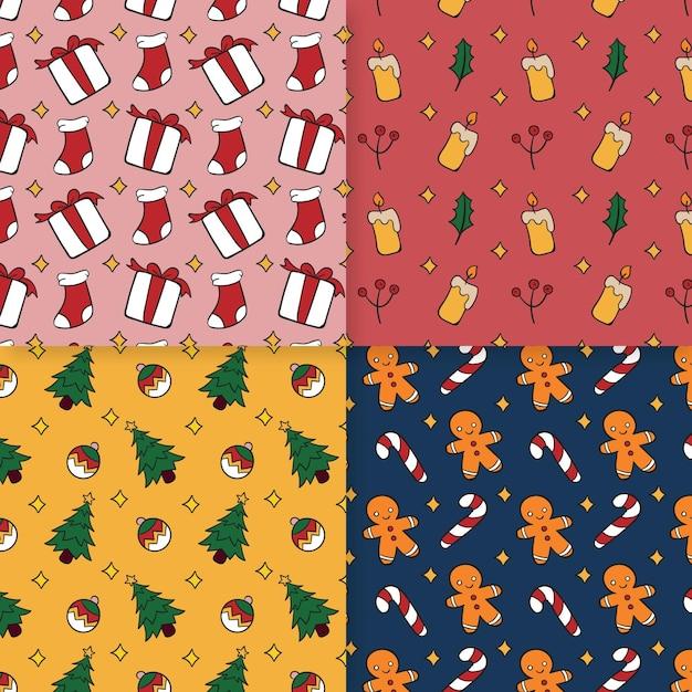 Coleção de padrões de natal desenhada à mão Vetor grátis