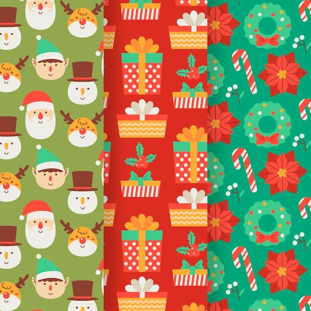 Coleção de padrões de natal em design plano Vetor grátis