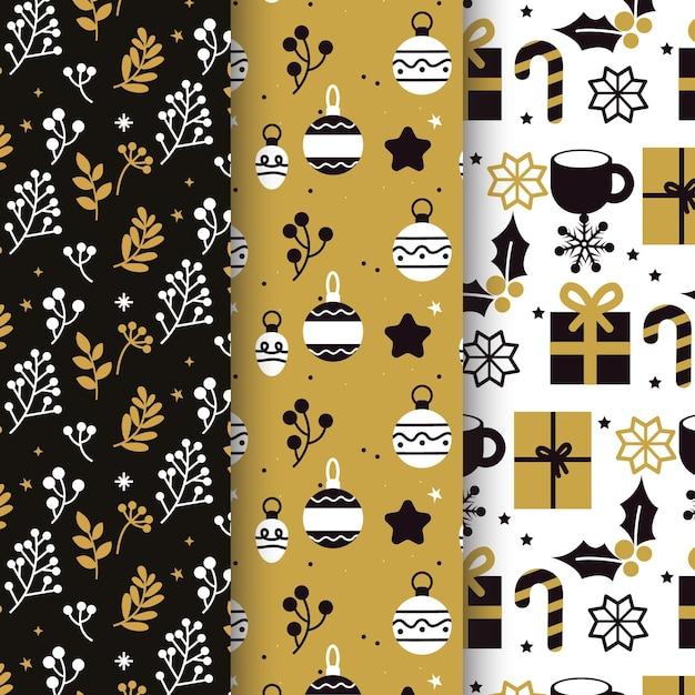 Coleção de padrões de natal em preto e dourado Vetor grátis