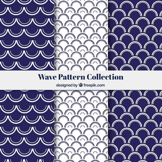 Coleção de padrões de ondas com formas semicirculares Vetor grátis