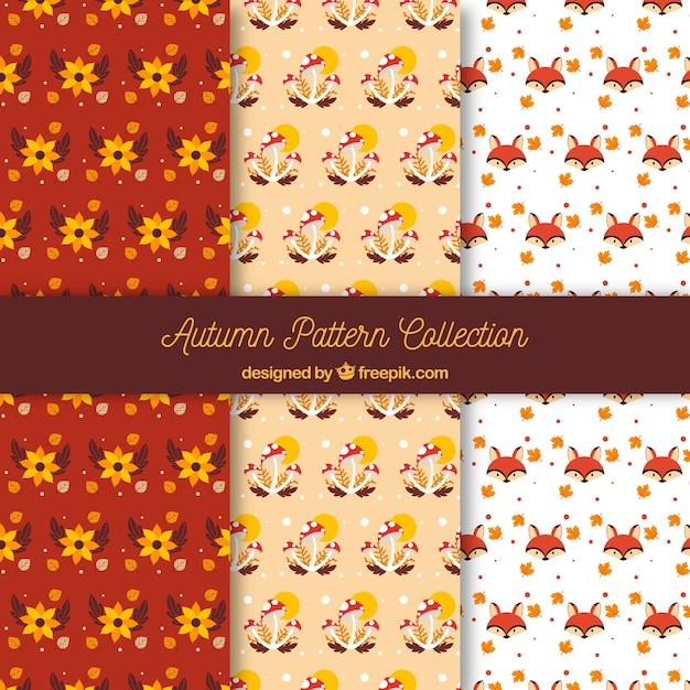 Coleção de padrões de outono com elementos Vetor grátis