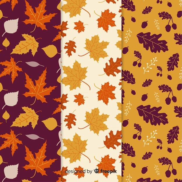 Coleção de padrões de outono mão desenhada Vetor grátis