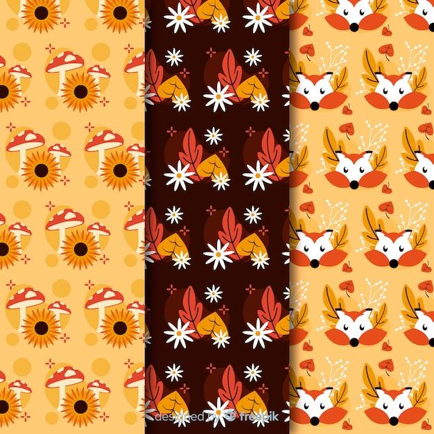 Coleção de padrões de outono planas Vetor grátis