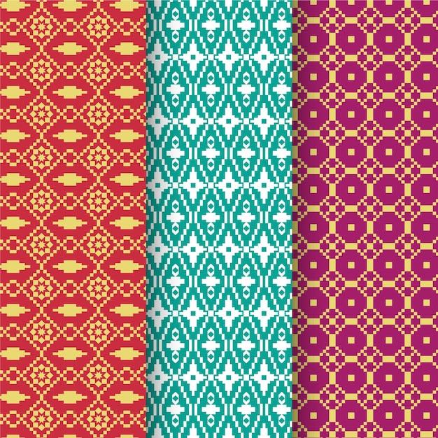 Coleção de padrões de songket Vetor grátis