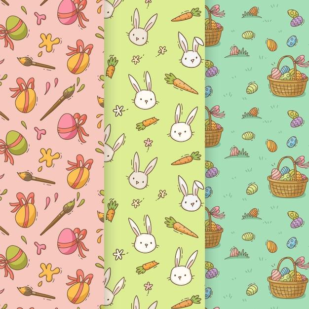 Coleção de padrões para o dia de páscoa Vetor grátis