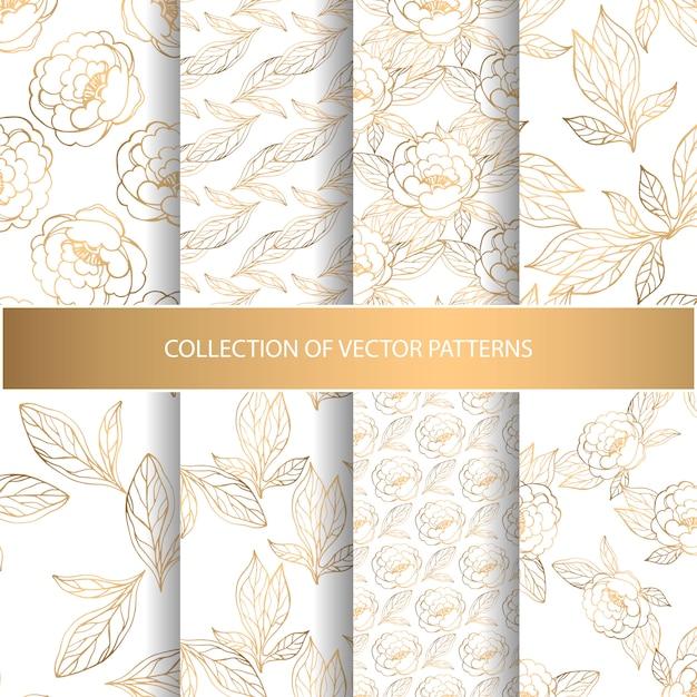 Coleção de padrões sem emenda com elementos florais dourados Vetor Premium