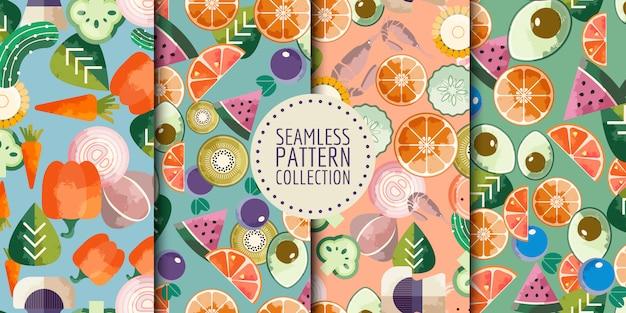 Coleção de padrões sem emenda de comida Vetor Premium