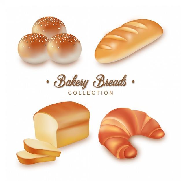 Coleção de pães de padaria Vetor Premium