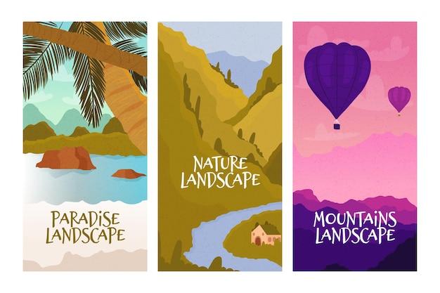 Coleção de paisagens diferentes Vetor grátis