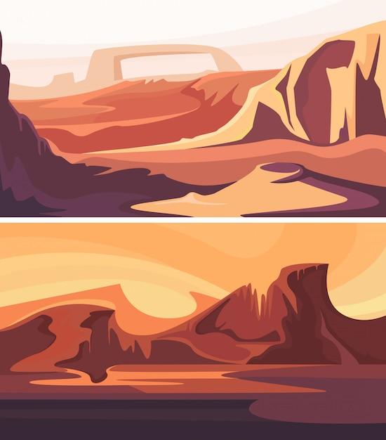 Coleção de paisagens marcianas. belos cenários espaciais. Vetor Premium