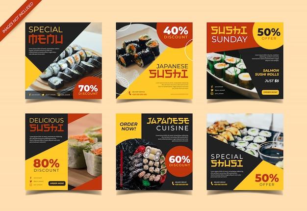 Coleção de panfletos de sushi ou instagram post Vetor Premium
