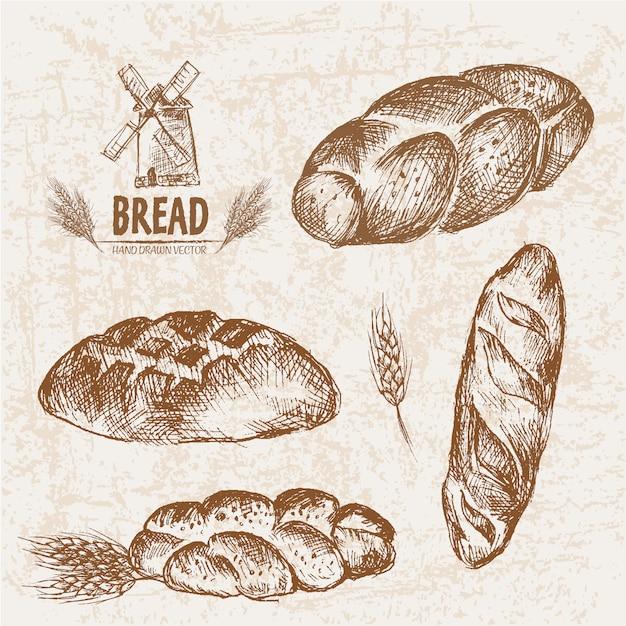Coleção de pão desenhada a mão Vetor Premium