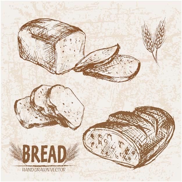 Coleção de pão fatiado Vetor Premium