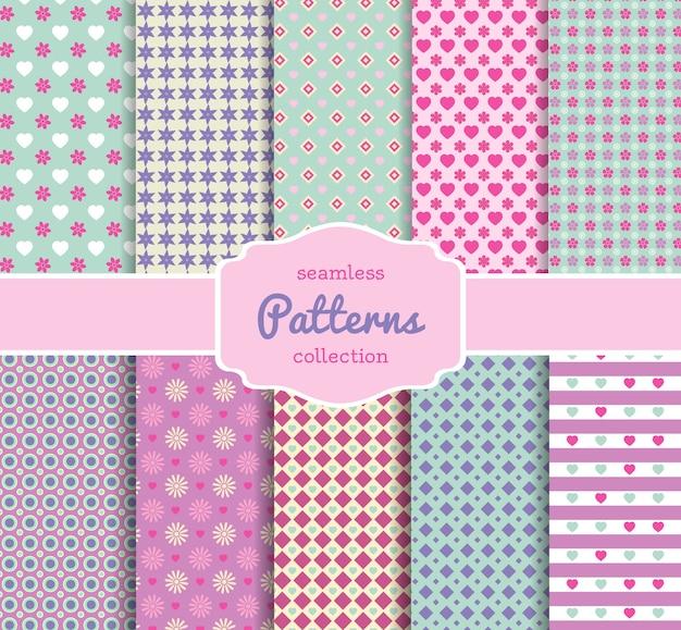 Coleção de papéis com vários padrões florais para scrapbooking em tons pastel Vetor grátis