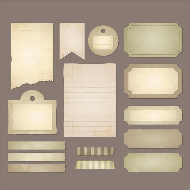 Coleção de papel de scrapbook vintage Vetor Premium