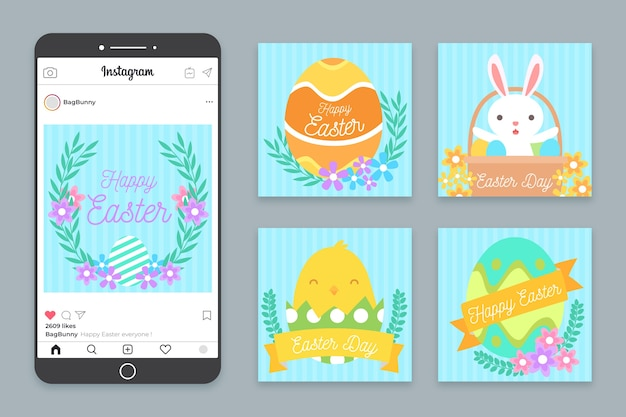 Coleção de páscoa ilustrada posts do instagram Vetor grátis