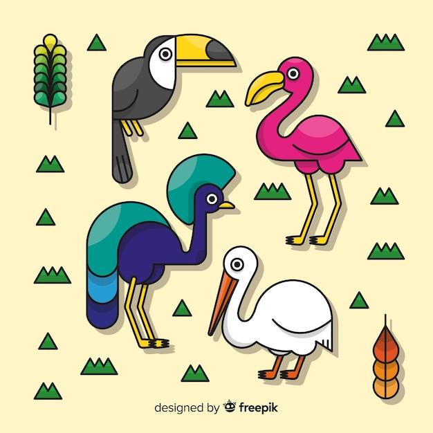 Coleção de pássaros exóticos de mão desenhada Vetor grátis