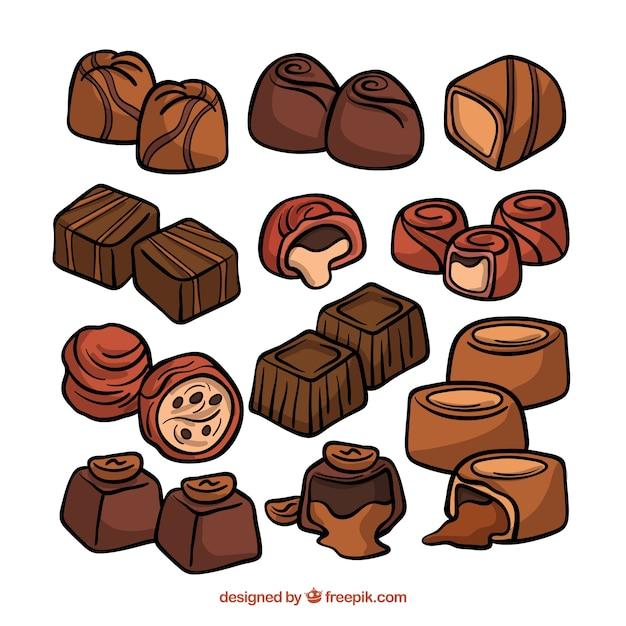 Coleção de pedaços de chocolate mão desenhada Vetor grátis