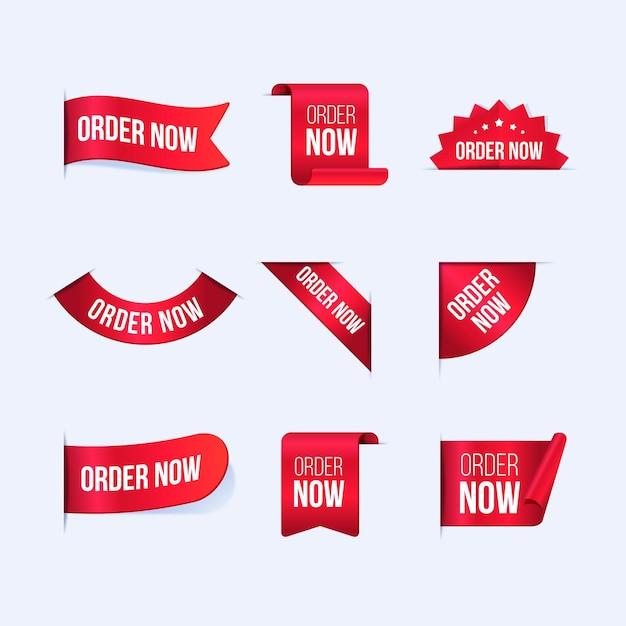 Coleção de pedidos de criativos agora rótulos Vetor Premium